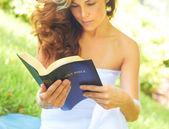 Woman Reading Holy Bible — Stock Photo