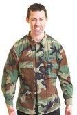 White male in army uniform angry — Stock Photo