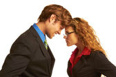 Business Coworkers Butting Heads — Stock Photo