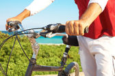 Cyclist Holding Handlebar Of Cycle — Stock Photo