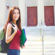 Stock Photo: Female Student With Rucksack And Files