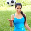 Woman Tossing Soccer Ball — Stock Photo