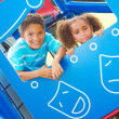 Little Children Looking Through Playhouse Window — Stock Photo