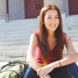Female Student Sitting On Staircase Of College Building — Stock Photo #30429445