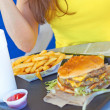 Serving Tray With Burger and Fries — Stock Photo
