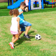 Children Playing Soccer At Park — Stock Photo