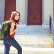 Female Student Standing On Stairs Of College Building — Stock Photo