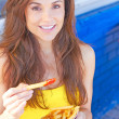 Woman Having French Fries — Stock Photo