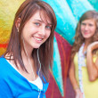 Cute Young Female Listening Music — Stock Photo