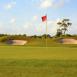 Stock Photo: Landscaped Golf Course With Flag