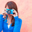 Girl With Digital Camera — Stock Photo