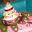 Wedding Cake decorated with flowers — Stok fotoğraf