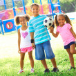 Little Children With Soccer Ball At Park — Stock Photo