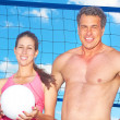 Woman and Man Smiling With a Volleyball — Stock Photo