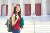 Female Student With Rucksack And Files — Stock Photo