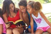 Teenage Girl Reading Bible To Siblings At Park — Stock Photo