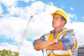 Serious Building Contractor At Construction Site — Stock Photo