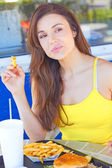 Pretty Female Having French Fries — Stock Photo
