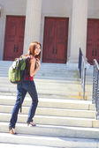 Female Student Heading Off To Class — Stock Photo