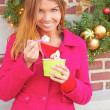 Happy Young Pretty Female Eating Frozen Yogurt — Stock Photo #30430135