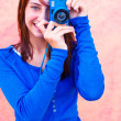 Girl With Digital Camera — Stockfoto