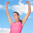 Young Woman Victorious — Stockfoto