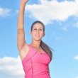 Young Woman With Arms Raised — Stock Photo