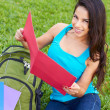 Happy Young Woman Reading Book — Stockfoto