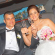 Happy Bride And Groom With Champagne Flutes — Stock Photo