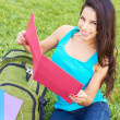 Happy Young Woman Reading Book — Stock Photo #30430501
