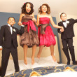 Bridesmaids And Groomsmen Jumping On Bed — Stock Photo