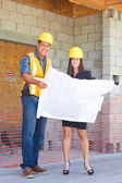 Architect and Construction Worker With Blueprint — Stock Photo