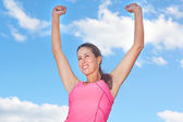 Young Woman Victorious — Stock Photo