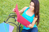 Happy Young Woman Reading Book — Stock Photo