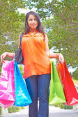 Modern Woman Walking With Shopping Bags — Foto de Stock