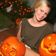 Woman With Jack-o-Lantern — Stock Photo