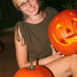 WomHolding Halloween Lantern — Stock Photo #30730513