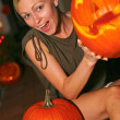 Stock Photo: Woman Holding Halloween Lantern
