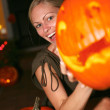 WomHolding Halloween Lantern — Stock Photo #30730593