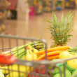 Shopping Cart Full Of Fruits And Vegetables — Stockfoto