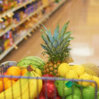 Shopping Cart Full Of Fruits And Vegetables — Stock Photo