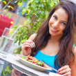 Young Attractive Woman Eating Salad — Stock Photo