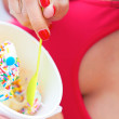 Woman Having Frozen Yogurt — Stock Photo