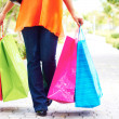 Woman Walking With Shopping Bags. — Stock Photo