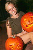 Woman Holding Halloween Lantern — Stock Photo