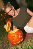 Woman With Halloween Pumpkin Lantern — Stock Photo