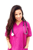Young Female Doctor With Hands In Pockets — Stock Photo