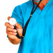 Medical student holding stethoscope — Stockfoto