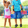 Little girl and boy at park — Foto Stock