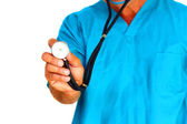 Medical student holding stethoscope — Stock Photo